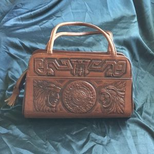 Vintage leather embossed purse from Mexico